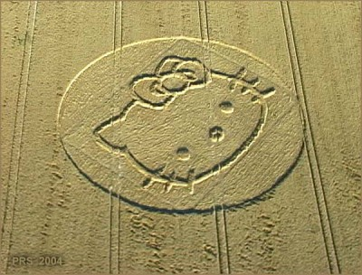 Hello Kitty crop circle in field