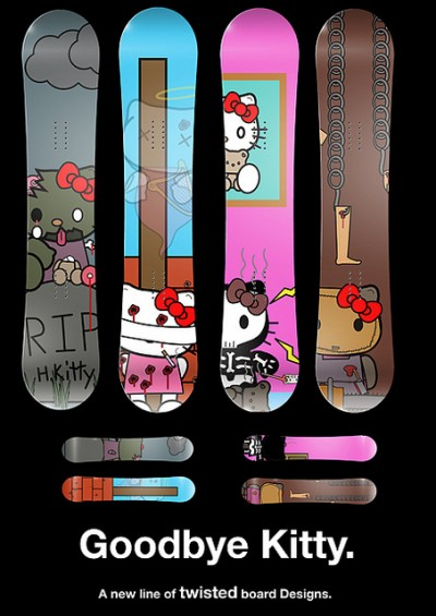 Goodbye Kitty snowboards