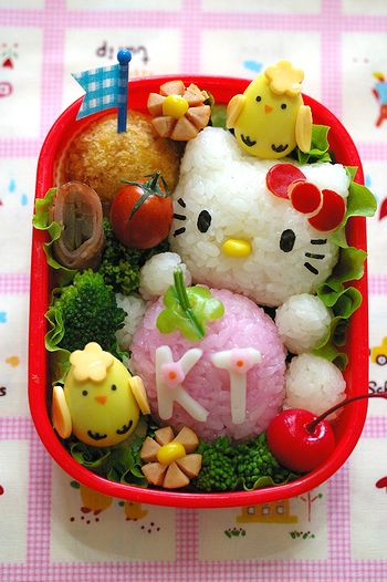 Japanese bento with KT Hello Kitty