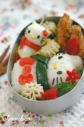 kawaii Hello Kitty bento as snowman