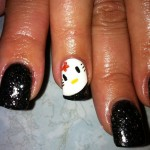 hello kitty black nails
