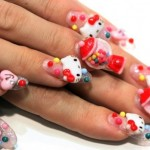 hello kitty bubble gum nails
