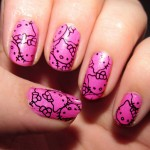 hello kitty pink nails