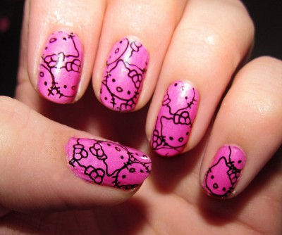 hello kitty pink nail art