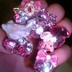 hello kitty sparkly nails