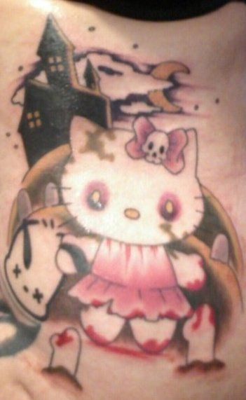 hello kitty pink zombie tattoo