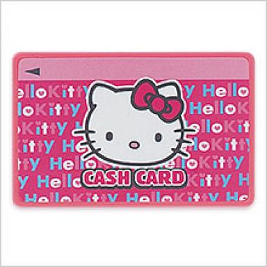 """Hello Kitty cash card"" so you can take out your money just as easy as"