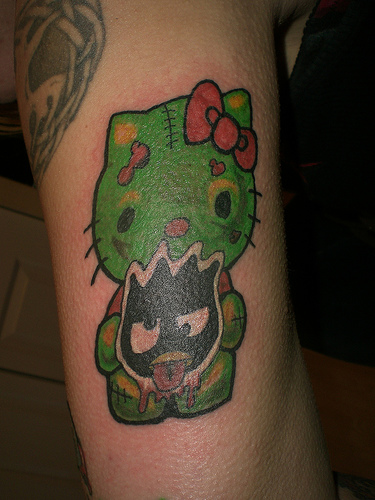 Hello Kitty Frankenstein tattoo