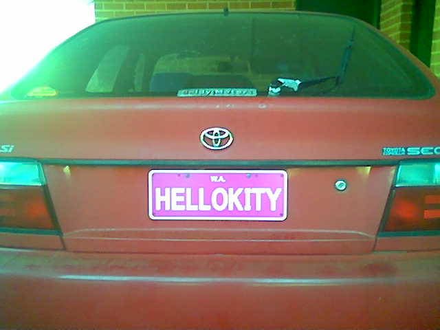 Hello Kitty license plate