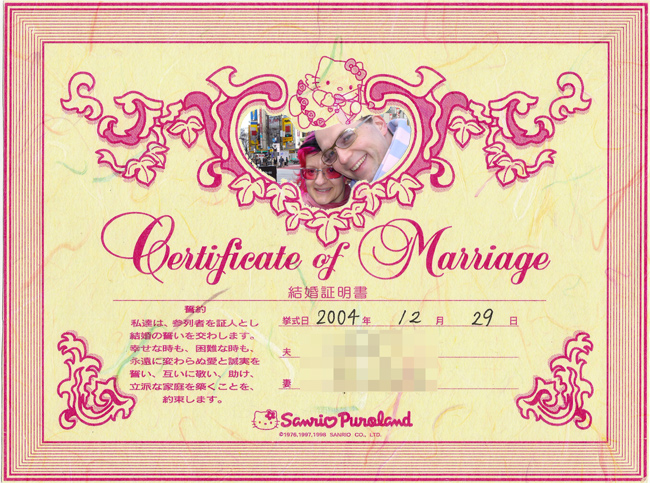 Hello Kitty marriage certificate