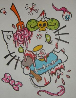 Hello Kitty zombie art