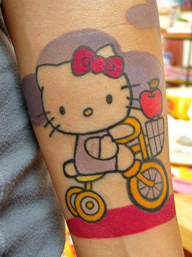 sign when the beginning of a new week begins with a Hello Kitty tattoo