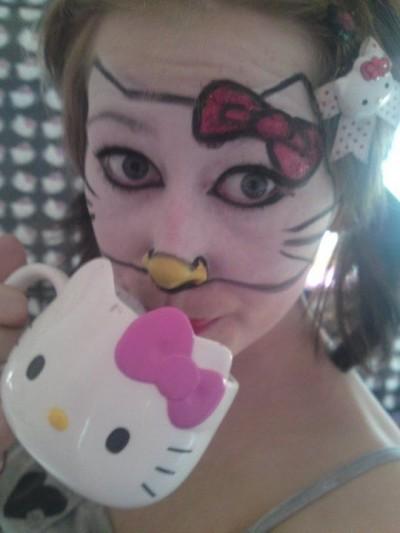 Hello Kitty face paint mask
