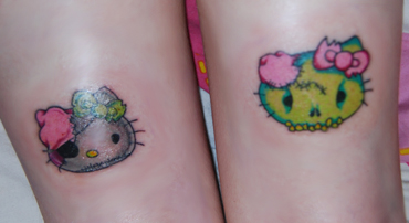 Hello Kitty pirate zombie tattoo