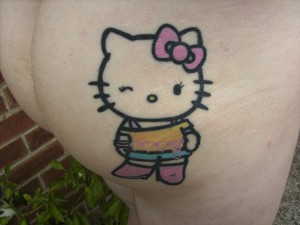 Hello Kitty cheeky tattoo