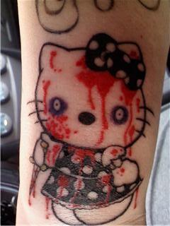 Hello Kitty bloody tattoo