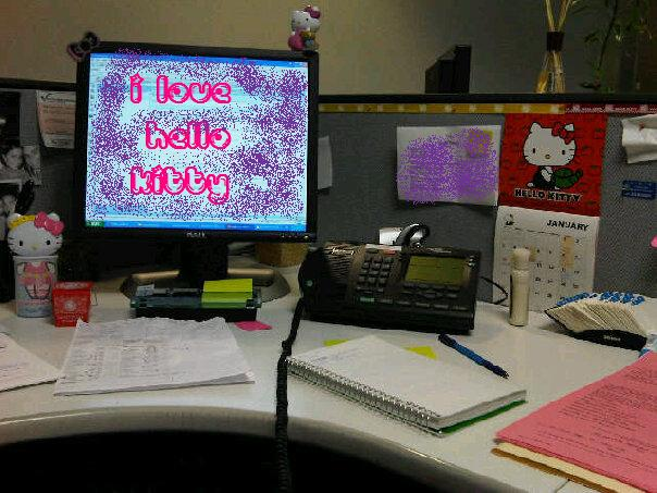 Update: If someone in your office is proud of their Hello Kitty cubicle,