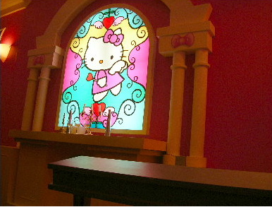Hello Kitty stained glass window
