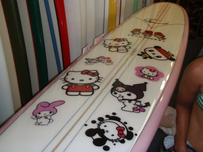 Hello Kitty longboard surfboard