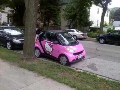 Hello Kitty pink smar car in the wild