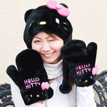 hello kitty hat and mittens black