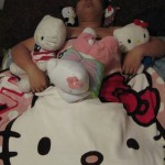 sleeping with hello kitty