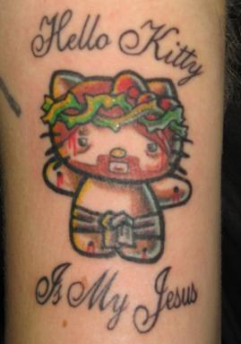 Hello Kitty Jesus tattoo