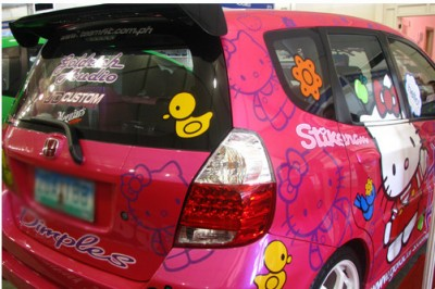 hello kitty Honda fit car
