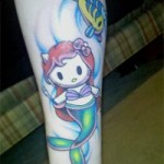 hello kitty little mermaid tattoo
