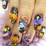 hello kitty halloween nails black cat