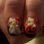 hello kitty hallowwen nails