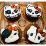 Hello Kitty skull Halloween cupcakes