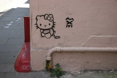 hello kitty crap grafitti