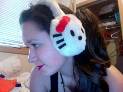hello kitty ear muff girl