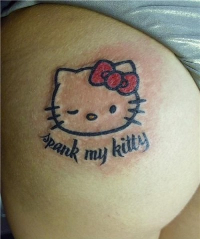 Hello Kitty spank my kitty tattoo