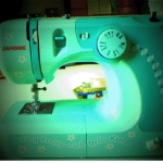 Zooey Deschanel hello kitty sewing machine