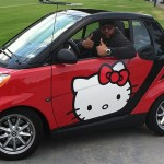football player hello kitty car