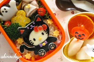 Hello Kitty Halloween black cat obento