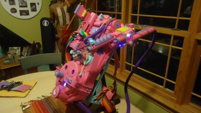 pink Ghostbusters proton pack featuring Hello Kitty
