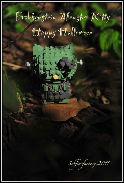 Hello Kitty Lego Frankenstein Halloween figure
