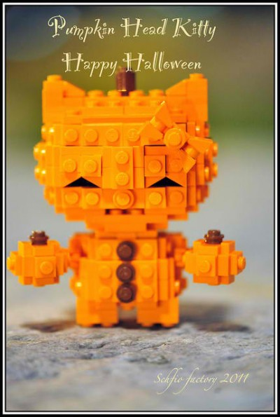 Hello Kitty Lego pumpkin head Halloween figure