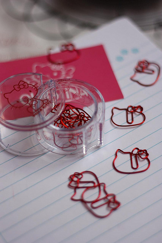 cute paper clips in the shape of Hello Kitty face