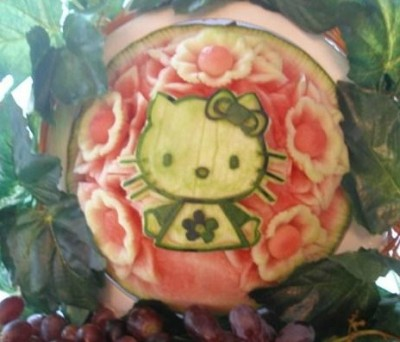 Hello Kitty water melon carving