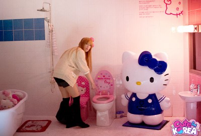 hello kitty bathroom with toilet